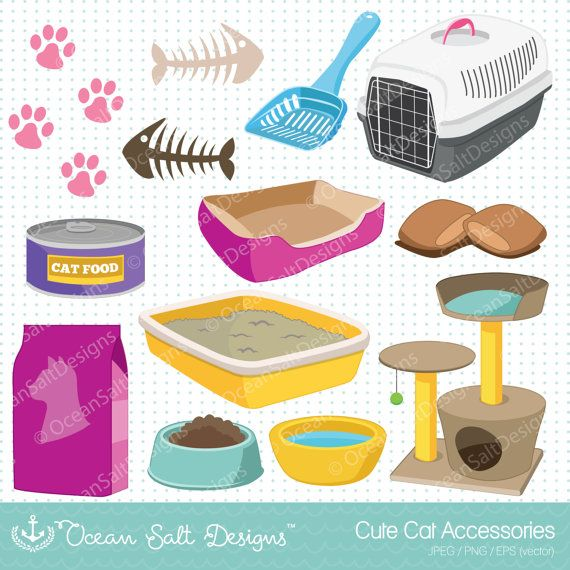 13 Cat Toys Clipart, Cat Food, Kittens Clipart, Cat Furniture.