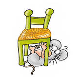 Clipart of mouse under the chair, k6190091.