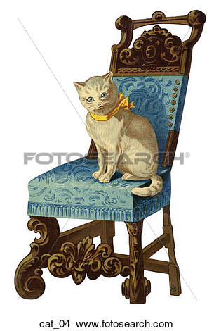 Drawings of Die Cut Illustration of a Cat on a Victorian Chair.