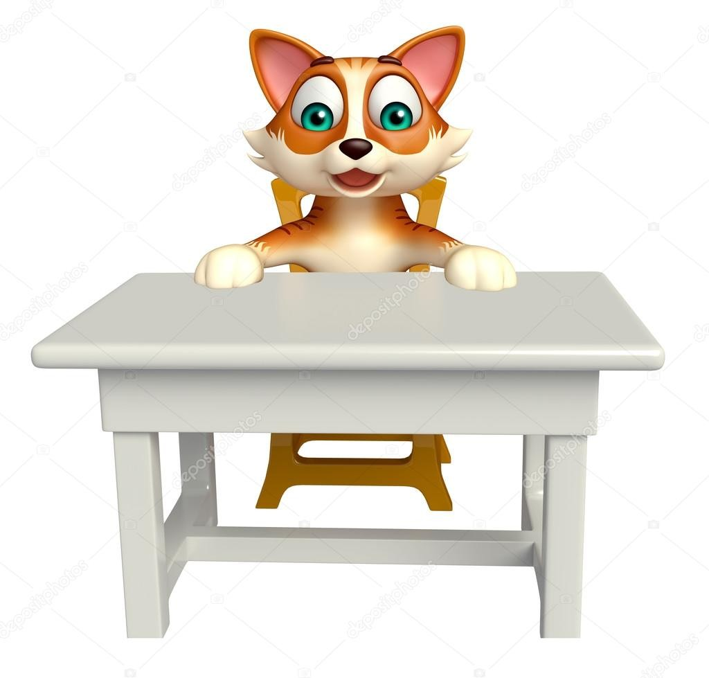 On Cat Under The Table Clipart Pet Scared Hiding A KE30RB.