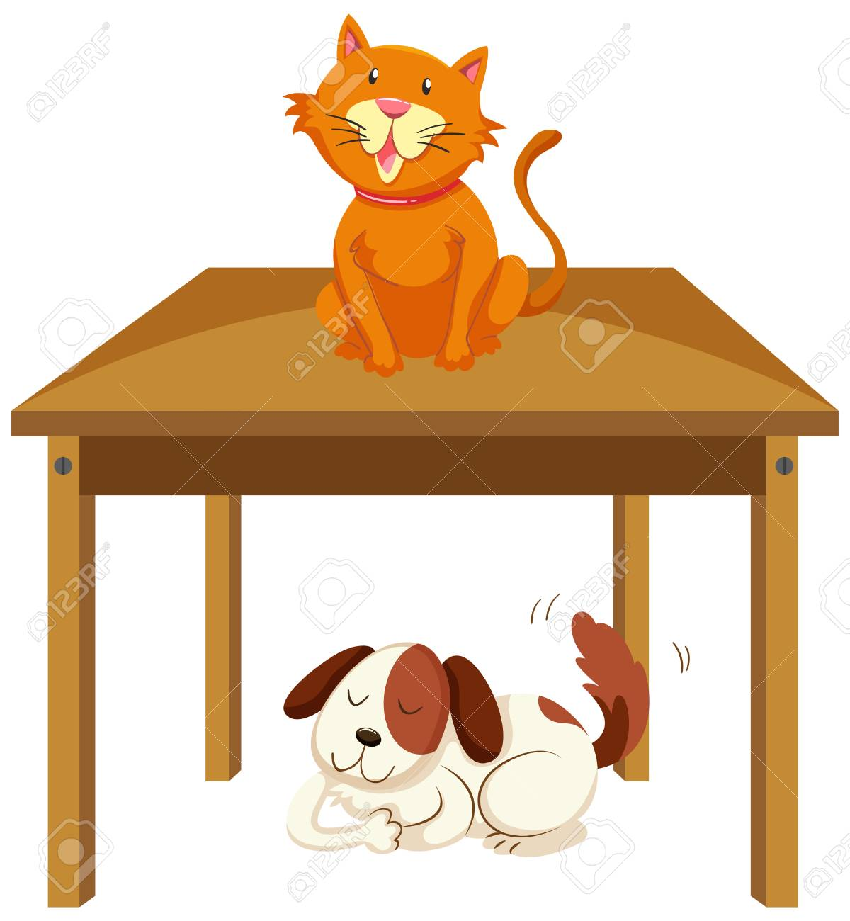Cat on the table and dog under the table illustration.