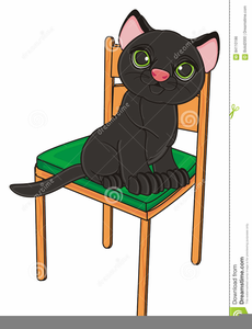 Cat Under The Chair Clipart.