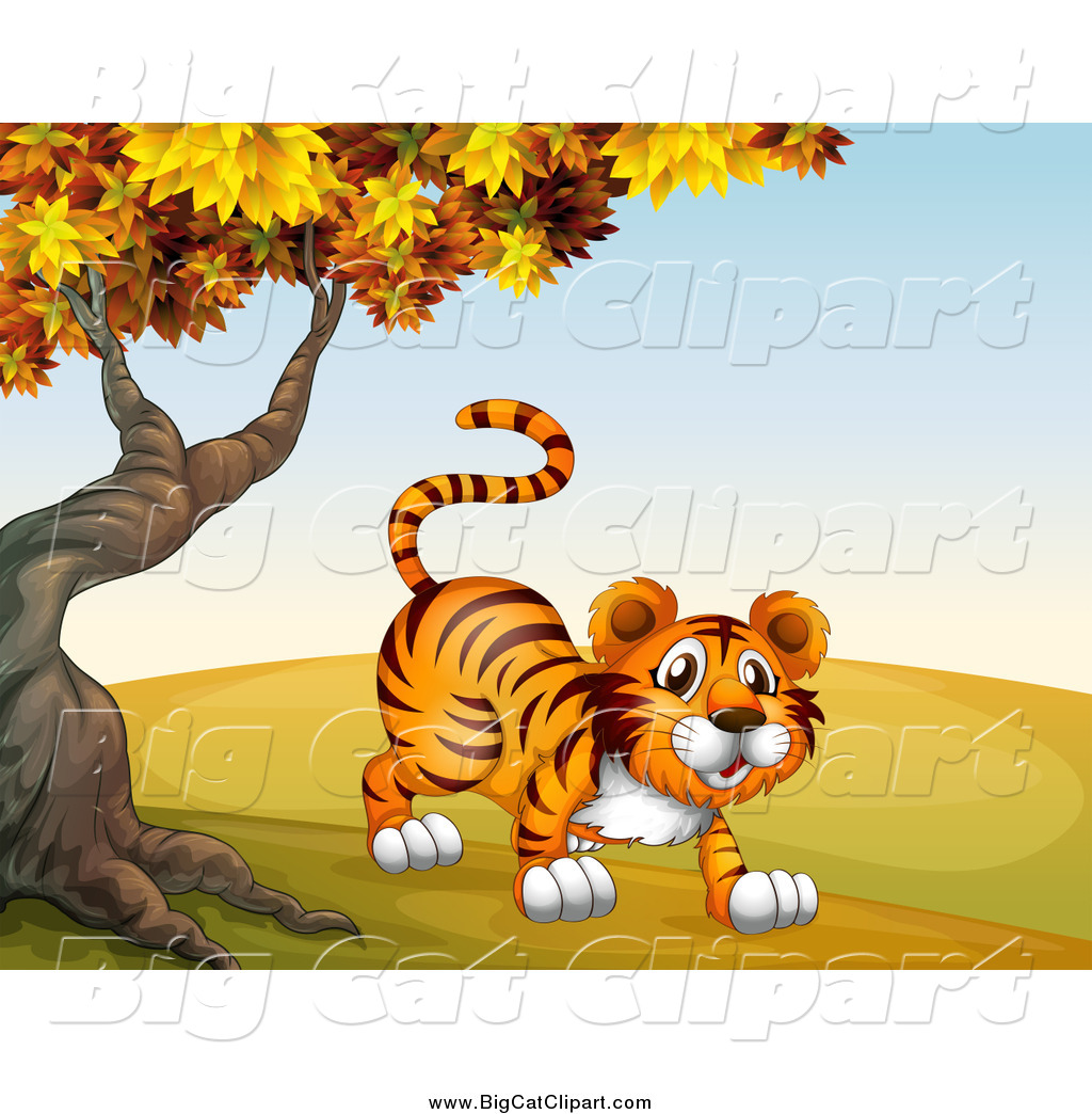 Big Cat Cartoon Vector Clipart of a Tiger Under an Autumn Tree by.