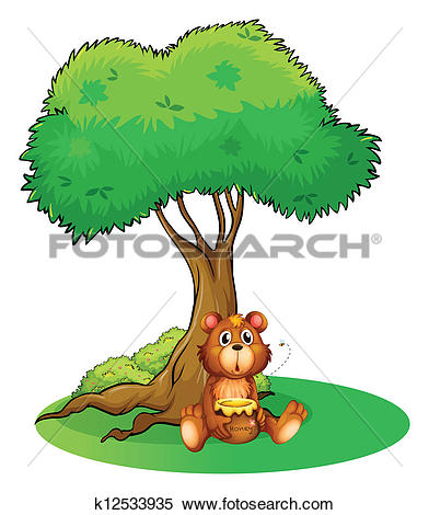 Clipart of A bear and the three bees under the tree k20260481.