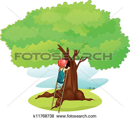 Clipart of A young boy and a cat under the big tree k12855324.