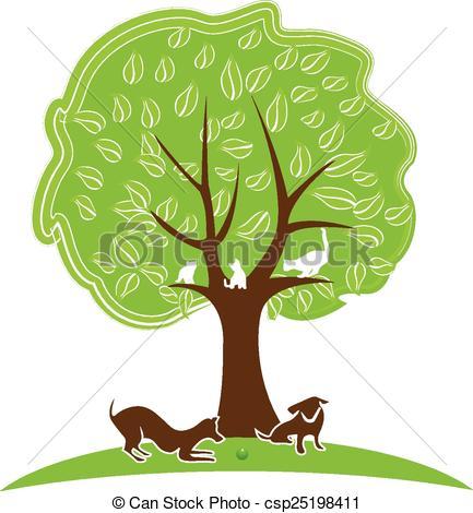 Vector Clip Art of Cat and dog tree logo.