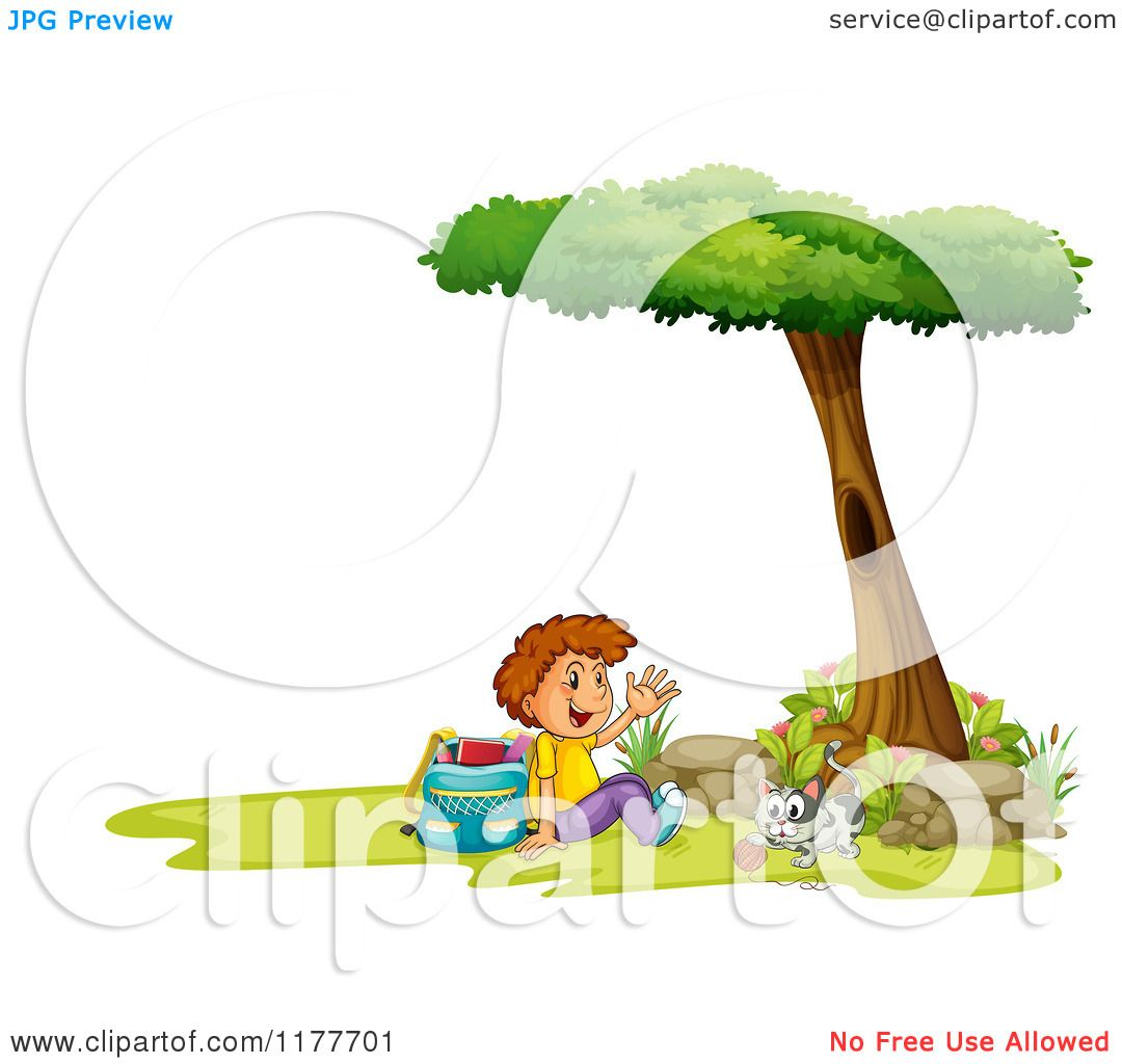 Cartoon Of A Waving School Boy And Cat Playing With Yarn Under A.