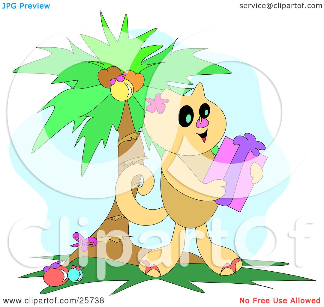 Clipart Illustration of a Cute Brown Cat Holding A Christmas Gift.
