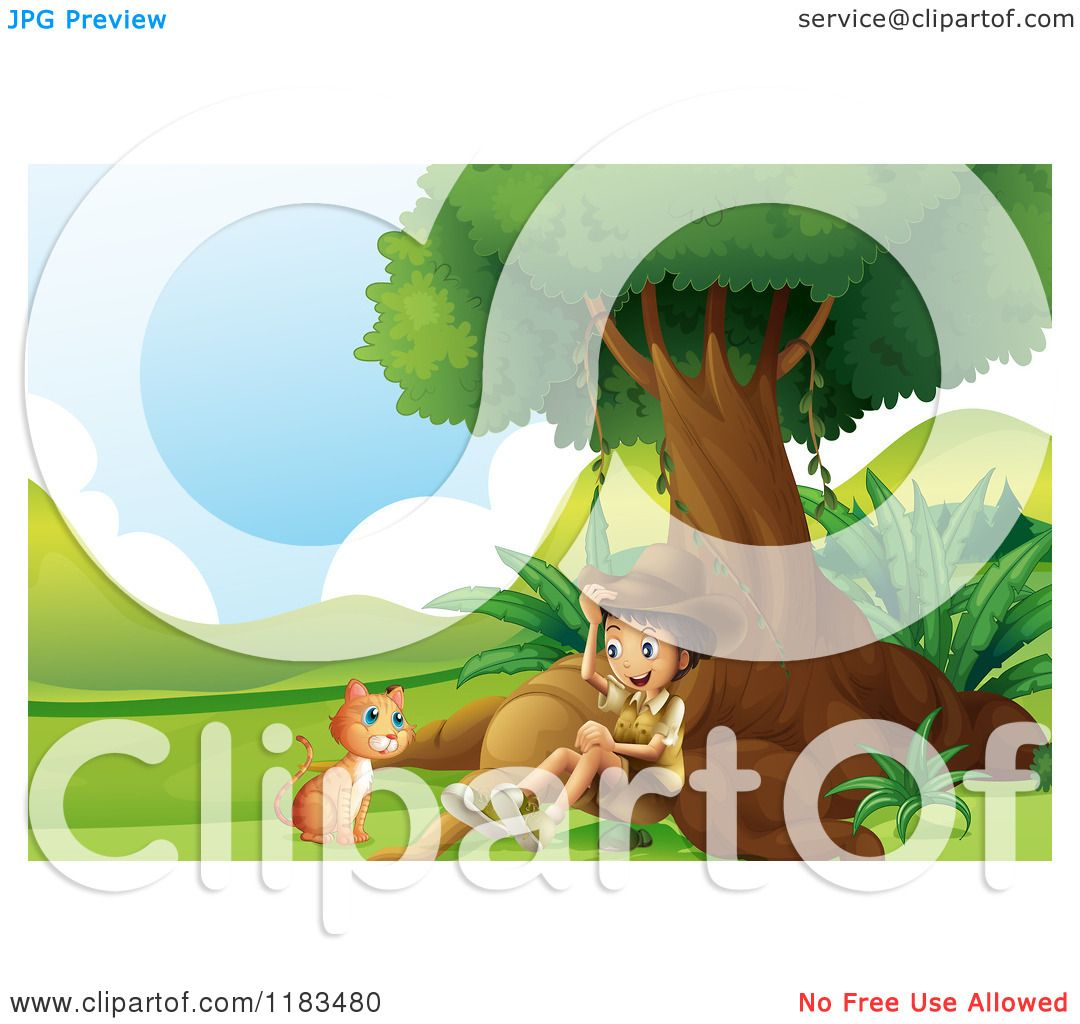 Cartoon of a Scout Explorer Boy and Cat Under a Tree.