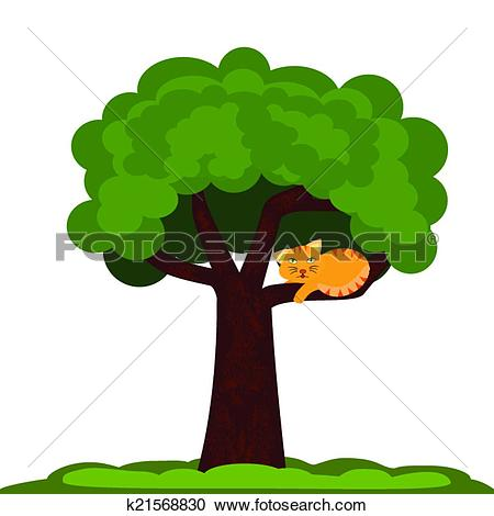 cat under the tree clipart #19