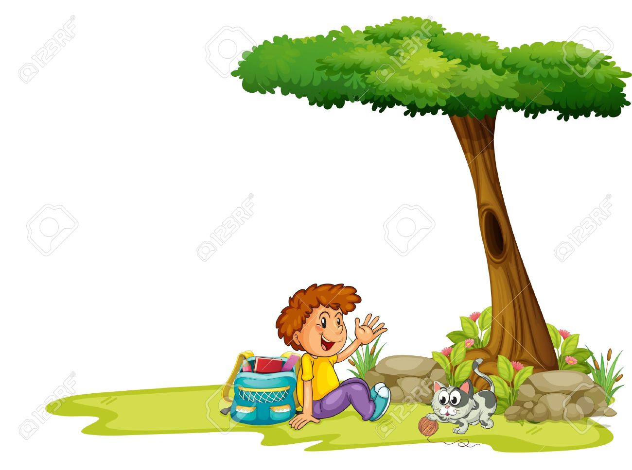 Illustartion Of A Boy And His Cat Under The Tree On A White.