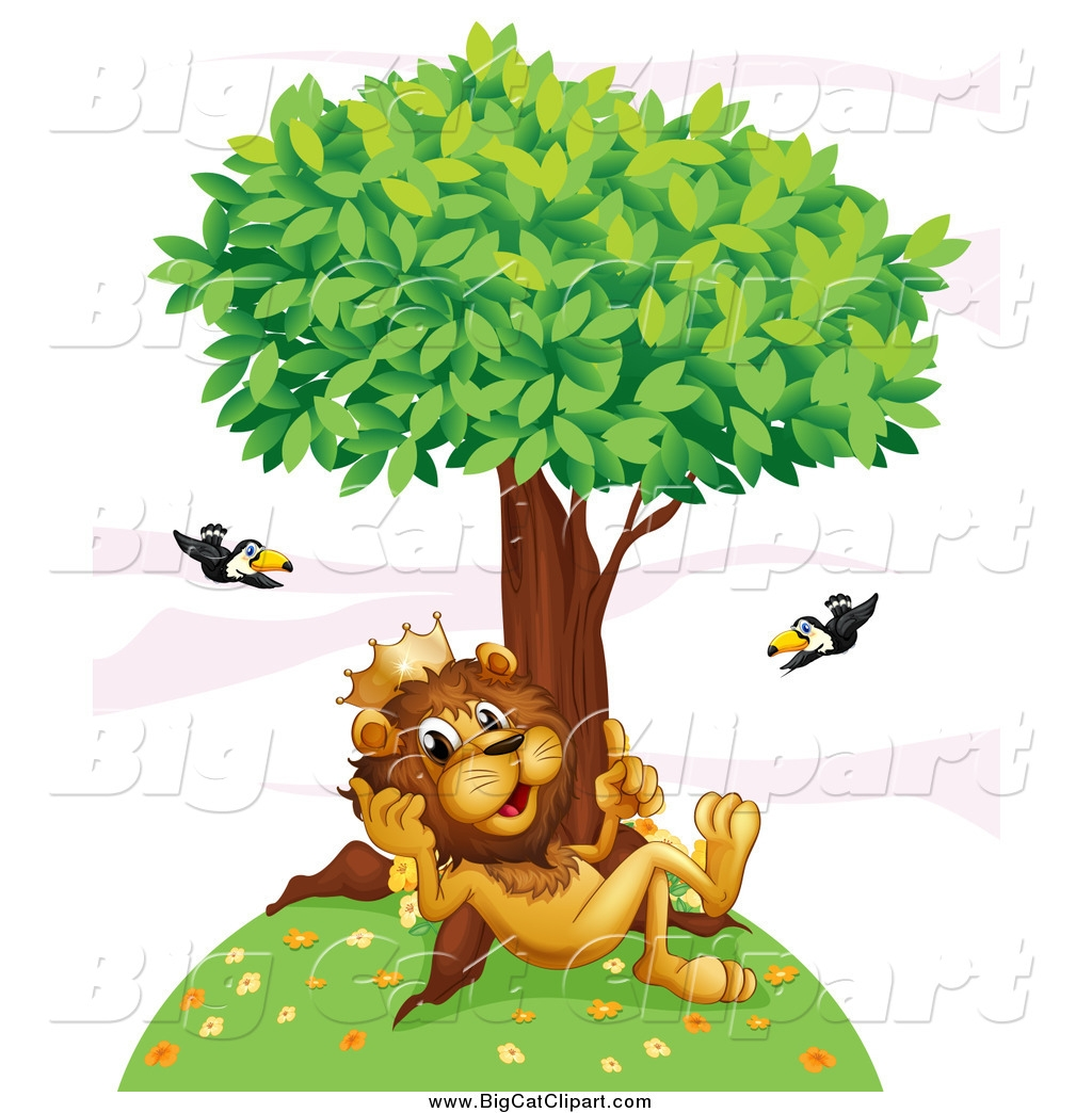 Cat Under The Tree Clipart.