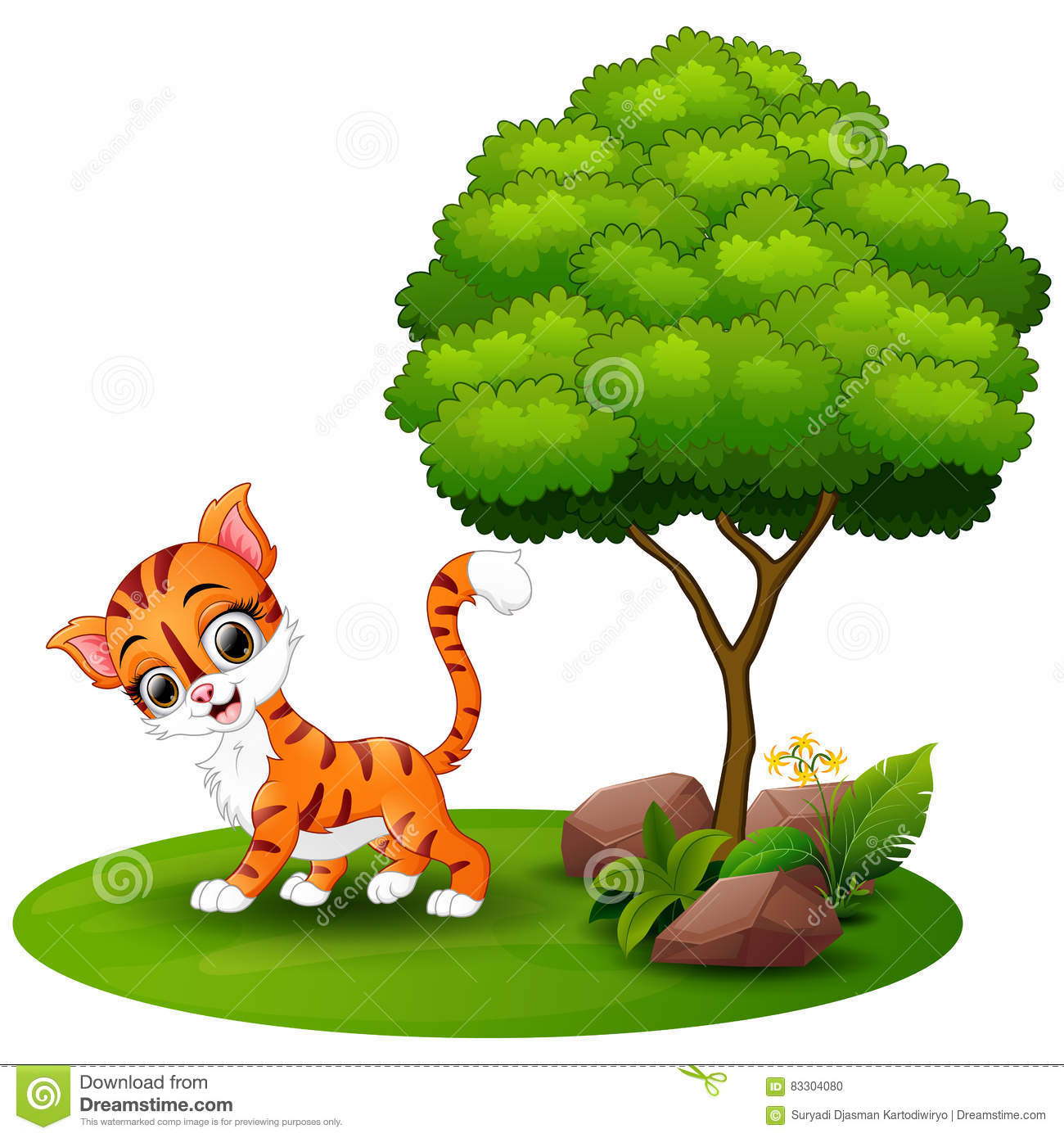 Cartoon Cat Under A Tree On A White Background Stock Vector.