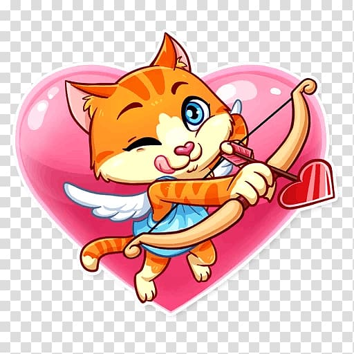 Whiskers Sticker Telegram Cat Love, cat valentine.