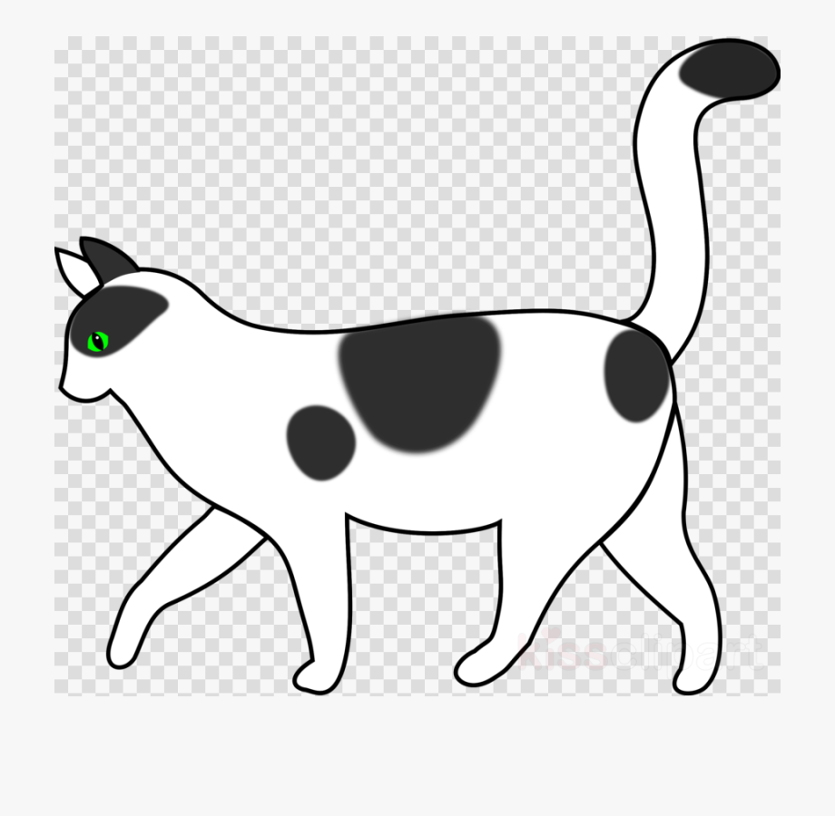 Cat Walking Clipart Black And White , Transparent Cartoon.