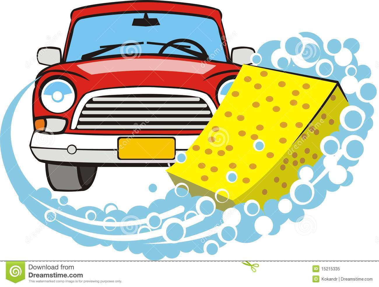 Sponge and hand car wash clipart.