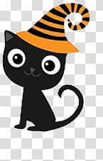 Halloween, black cat wearing witch hat illustration.