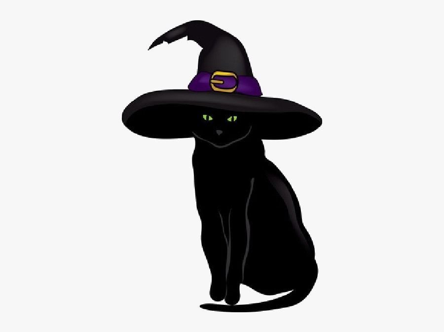 Cat Wearing Witch Hat , Free Transparent Clipart.