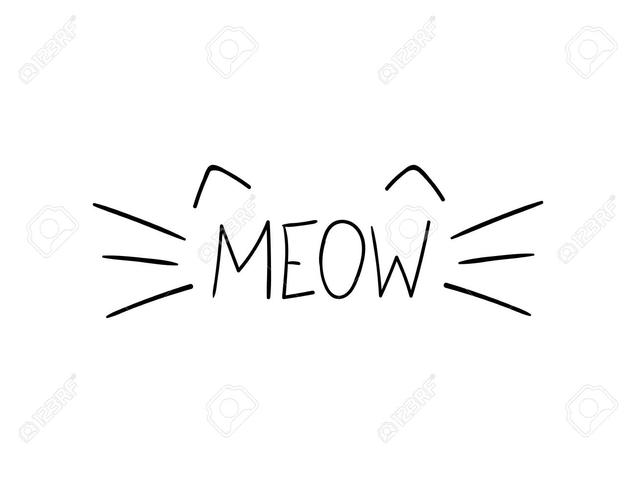 Vector Doodle Meow Illustration, Cat Whiskers Hand Drawn Illustration...