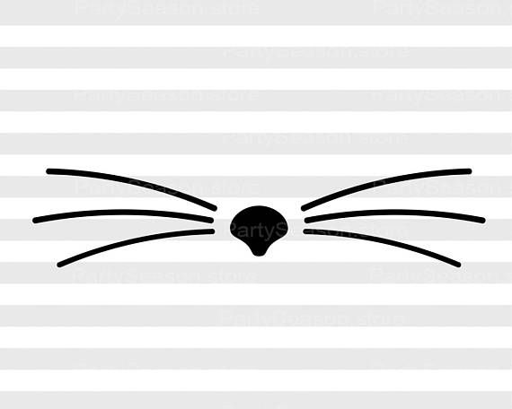 Kitty Svg Files Cat Whiskers SVG for Silhouette Cat Cutting File Svg.