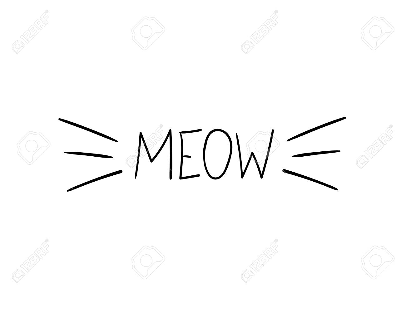 Vector Meow Illustration, Cat Whiskers Hand Drawn Illustration...