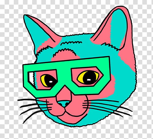 AESTHETIC S , teal and pink cat wearing glasses transparent.