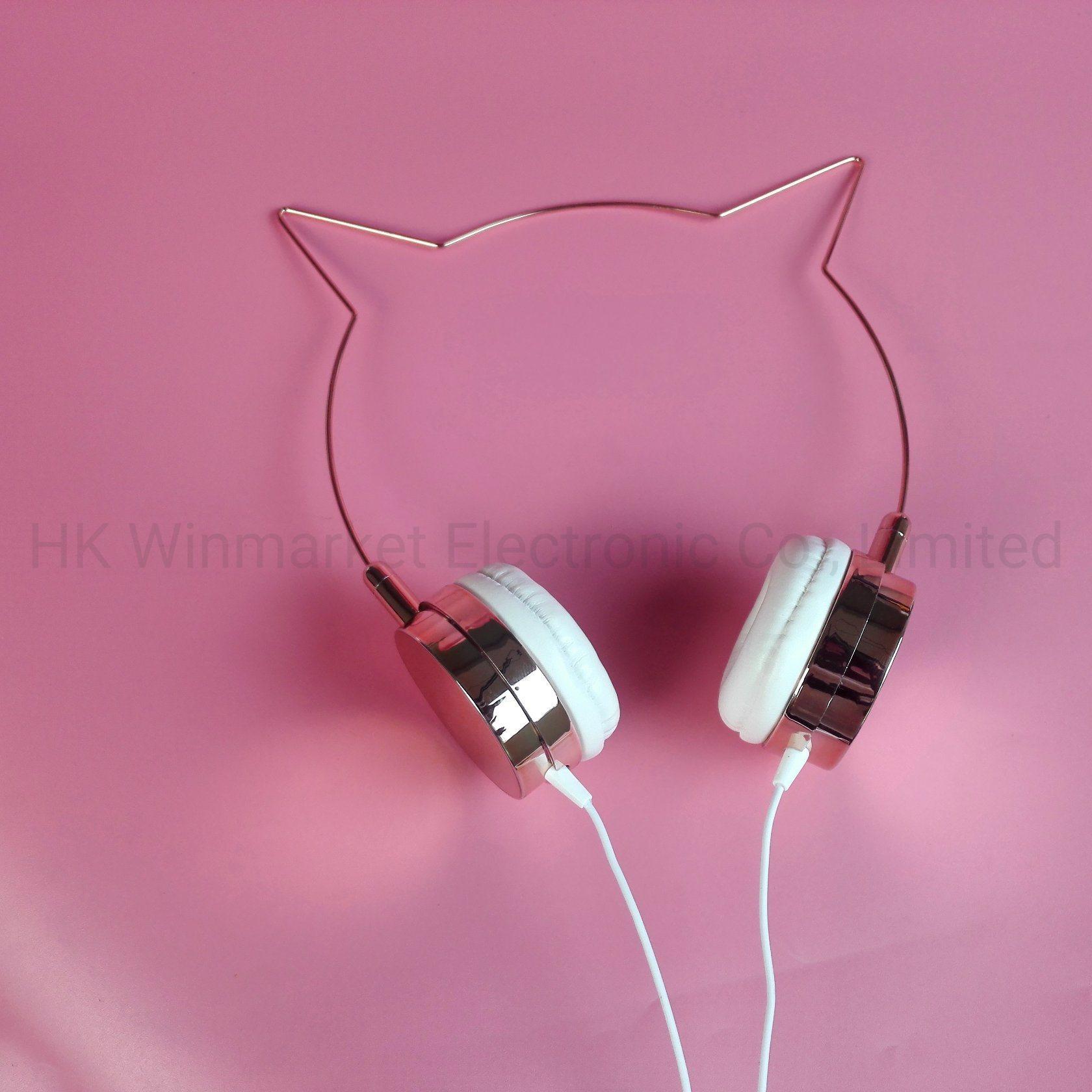 [Hot Item] Hot Cat Ear Headphone Rose Gold /Silver OEM Logo.