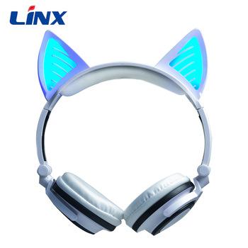 Led Ear Headphone Cats Flashing Headset Gaming Earphones For Adult.