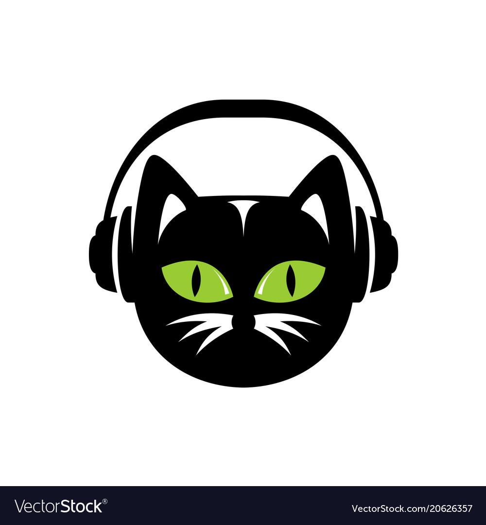 Black cat with headphones logo.