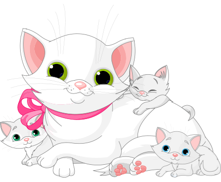 Mama Cat and Kittens.