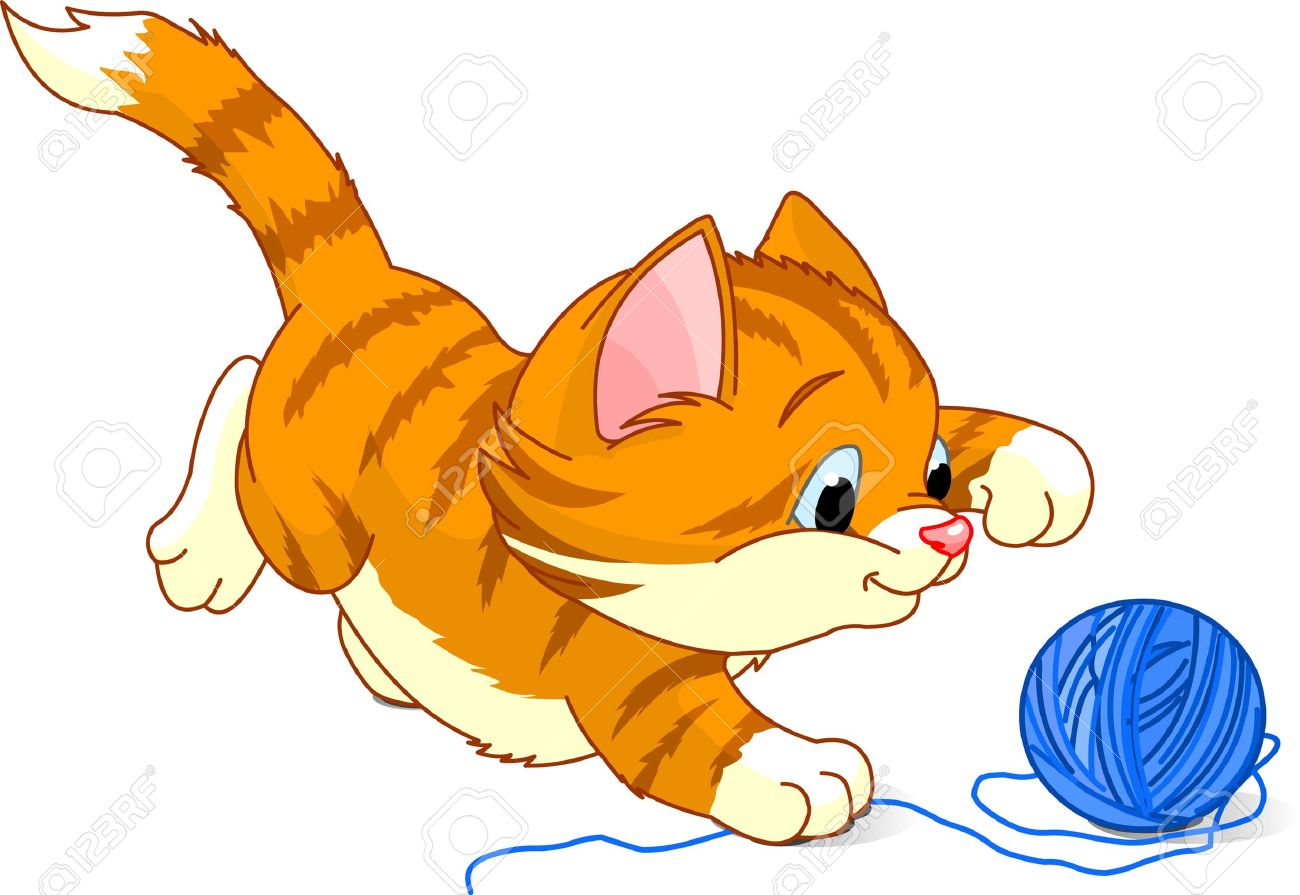 Cat Playing With Yarn Clipart.