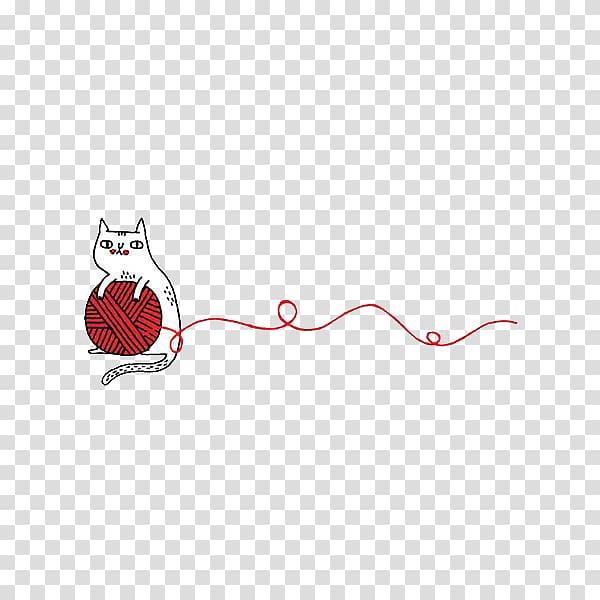 White cat holding red yarn , Cat Kitten Yarn Wool , Cartoon.