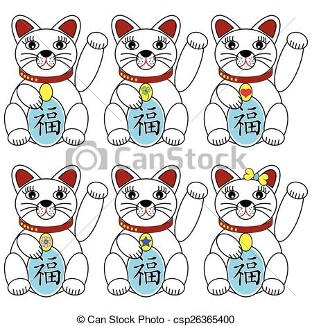 Vector Clipart of Chinese lucky cat set of 6 cat icons with.
