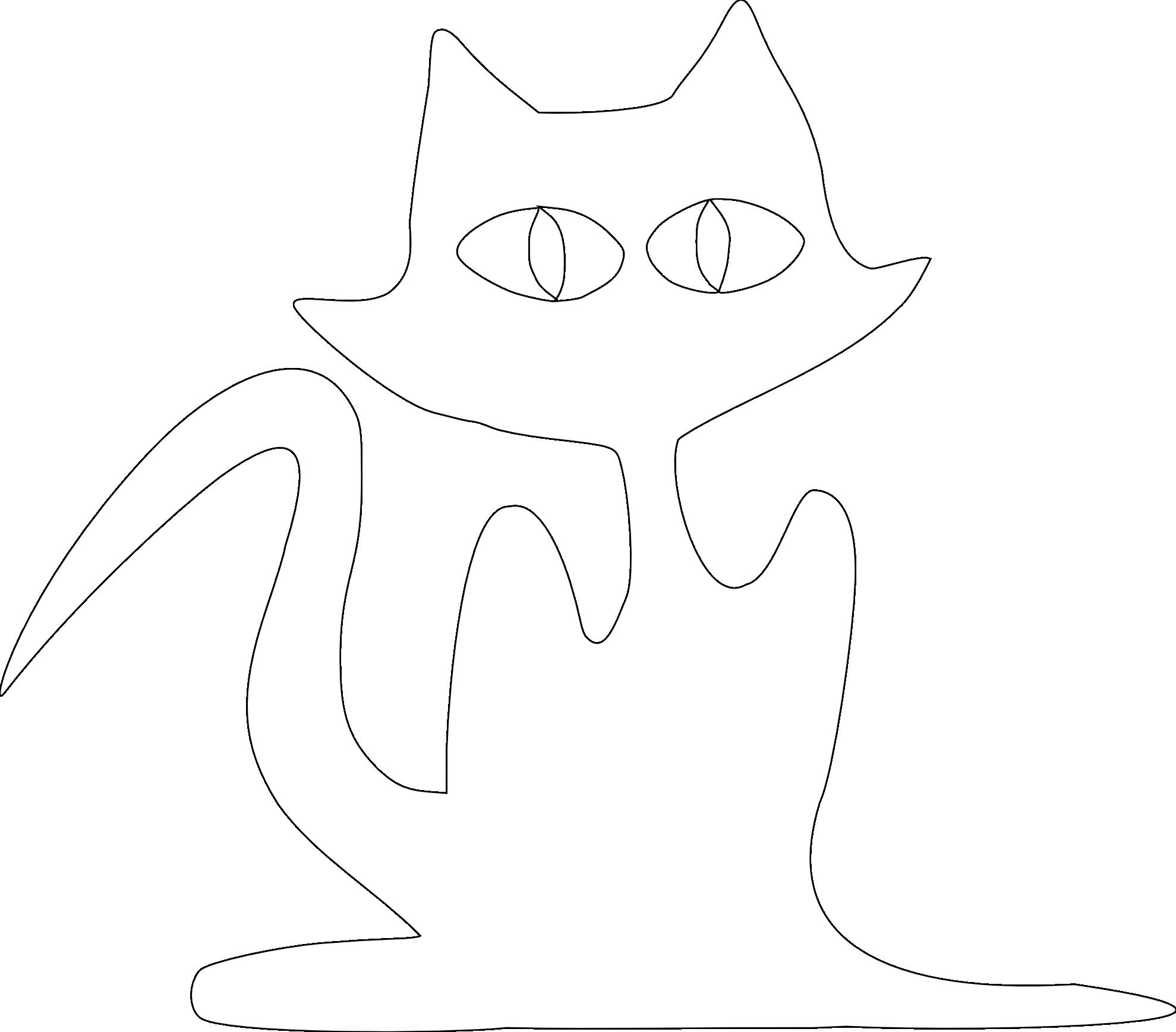 Cat 6 Halloween Black White Line Art Christmas Xmas Stuffed Animal.