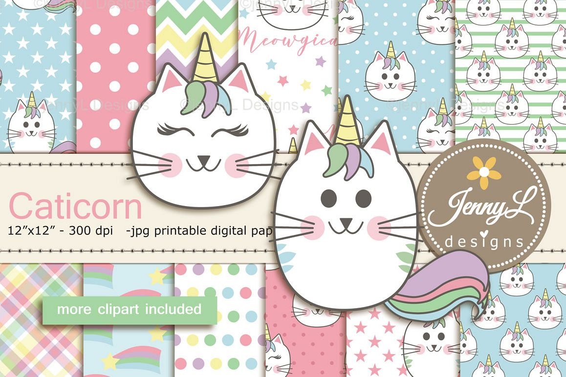 Caticorn Cat Digital Papers and Cat Clipart SET.