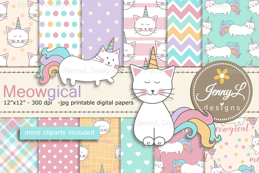 Caticorn Cat Digital Paper & Clipart ~ Graphic Patterns.