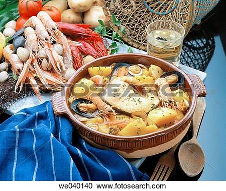 Stock Photography of ?Suquet de peix? fish and seafood stew.