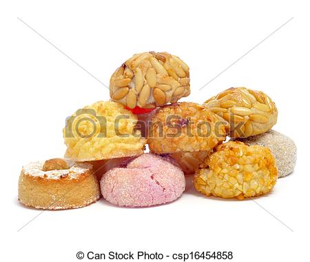 Stock Images of a pile of panellets, typical pastries of Catalonia.