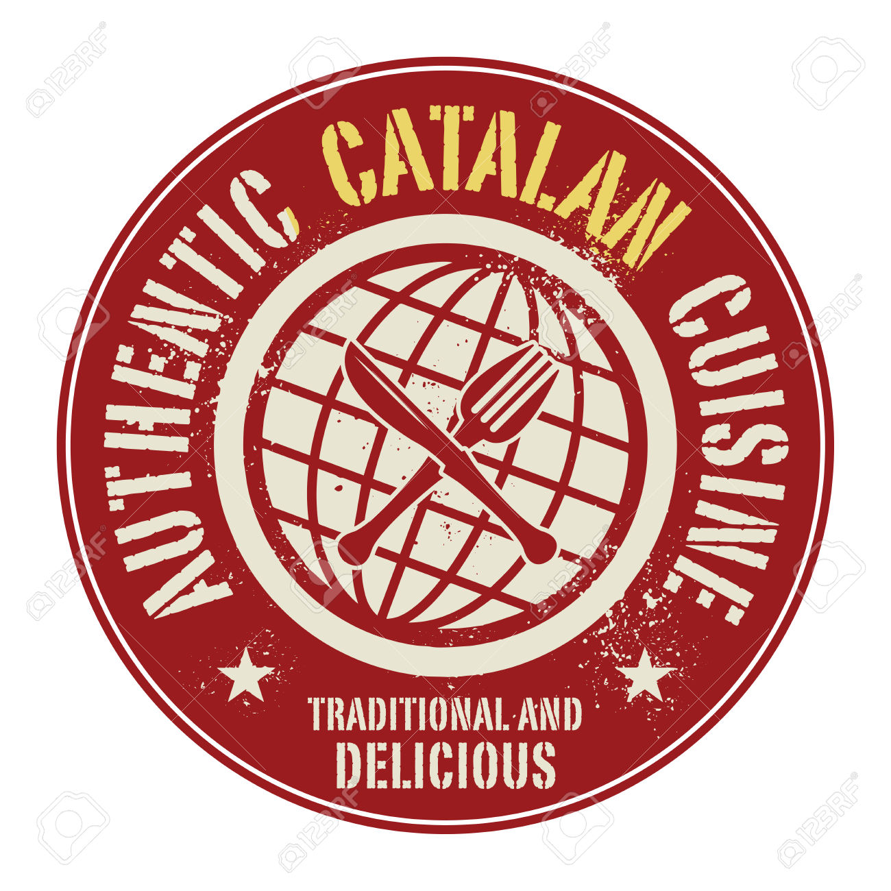 Abstract Stamp Or Label With The Text Authentic Catalan Cuisine.