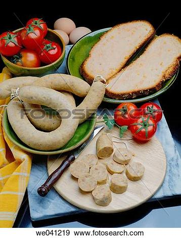 Stock Photograph of ?Botifarra d?ou? typical Catalan sausage with.
