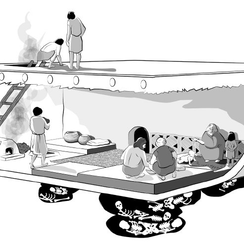 1. Life and death at Çatalhöyük: reconstruction of a typical.