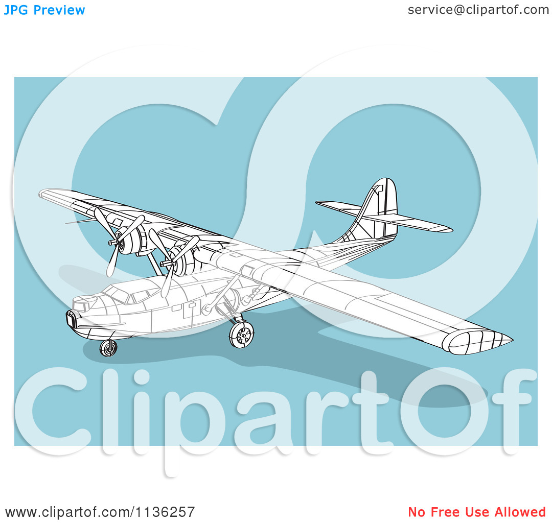 Clipart Of A Wireframe Catalina Airplane On Blue.
