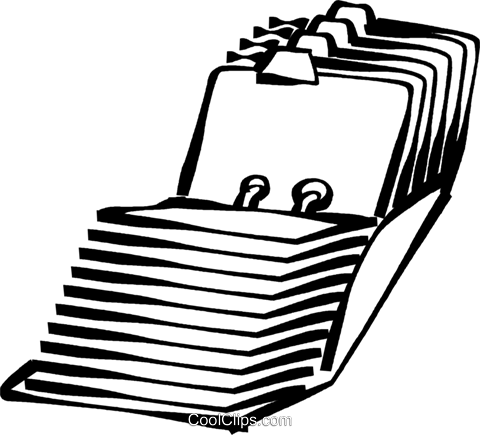 index card catalog Royalty Free Vector Clip Art illustration.