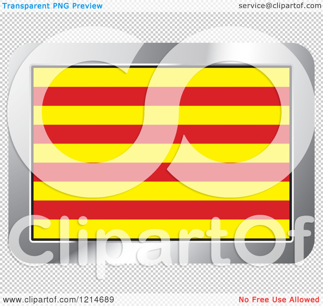 Clipart of a Catalonia Flag and Silver Frame Icon.