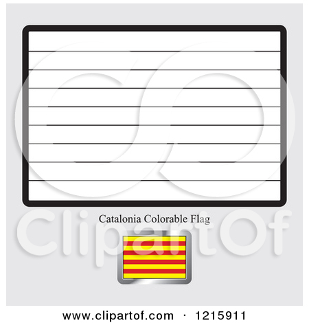 Clipart of a Coloring Page and Sample for a Catalonia Flag.