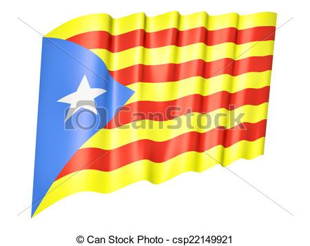 Clip Art of Flag of Catalonia, Estelada Blava, Catalan.