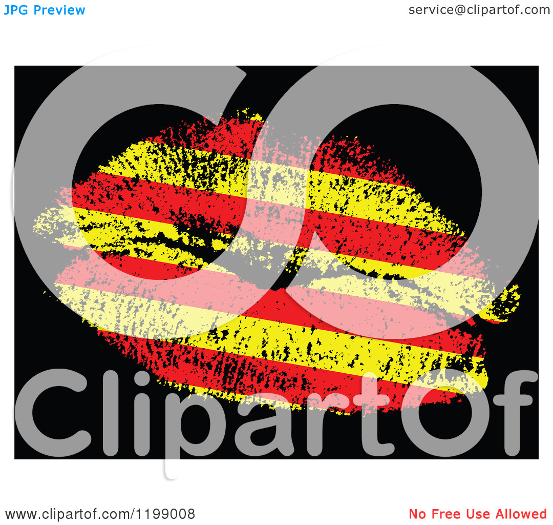 Clipart of a Catalonia Flag Kiss on Black.