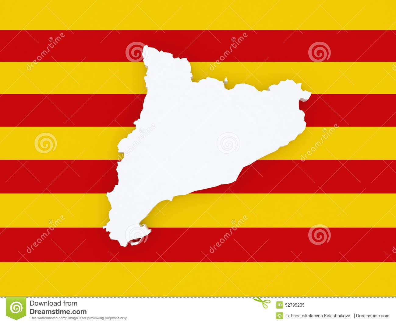 Map Of Catalonia. Stock Illustration.