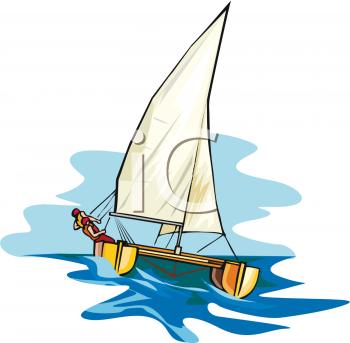 Person on a Catamaran Sailing.