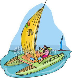 Person Sailing a Catamaran Royalty Free Clipart Picture.